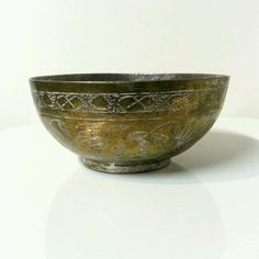Antique ETCHED GOLD Tone ON SILVER Tone METAL BOWL Calligraphy Design INDIA