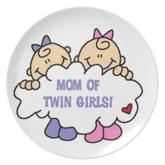 Mom of Twin Girls T-shirts and Gifts Plate