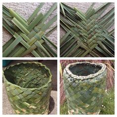 How to make an Ipu (Large Basket) Flax Weaving, Willow Weaving, Basket Weaving, Hand Weaving, Textiles Techniques, Weaving Techniques, Fun Crafts, Diy And Crafts, Arts And Crafts