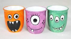 DIY Monster Mugs - get the #freetutorial for making these adorable and easy mugs with your little monsters! #DIY #kidscrafts