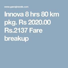 Innova 8 hrs 80 km pkg. Rs 2020.00  Rs.2137  Fare breakup