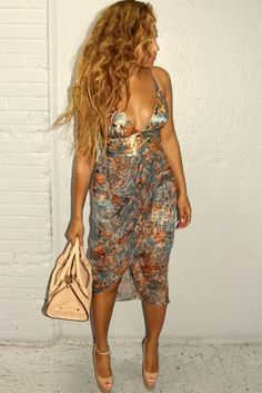 Beyonce wears the Riot Plunge Dress from Zimmermann Resort 15 Ready-to-Wear