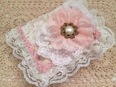 GORGEOUS OOAK Pink/white lacy/pearls NEEDLEBOOK/PIN CUSHION, romantic Victorian fab #gift