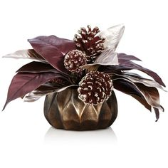 Bloomingdale's Faux Foliage Centerpiece ($76) ❤ liked on Polyvore featuring home, home decor, holiday decorations, leaf home decor, artificial centerpieces, holiday home decor, holiday decor and purple home decor