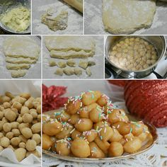 Ingredienti: 400 gr di farina,4 uova un cucchiaio di zucchero,una noce di burro o strutto,la scorza di mezzo limone,300 gr di miele,50 gr di cedro candito,