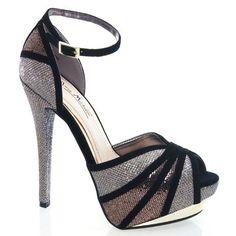 Glitter Metallic Peep Toe Hidden Platform Stiletto High Heel Sandal