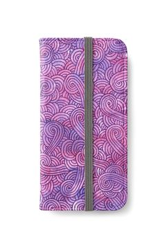 Neon pink and purple swirls doodles iPhone Wallet by @savousepate on @redbubble #iphonewallet #phonewallet #doodles #zentangle #abstract #modern #graphic #geometric #purple #pink #fluo