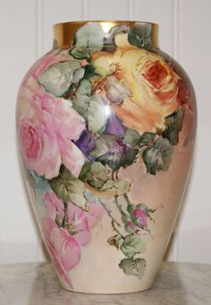 D&C Limoges France Hand Painted Roses Vase