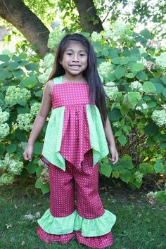 Girls Green and Red Handkerchief Top and Ruffle Pants Outfit.