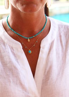 Turquoise with Diamond Yoga Hamsa Hand, Fine Arizona Turquoise, Solid 18K Hamsa w Pave Diamonds, Delicate Layering Necklace, Fine Quality