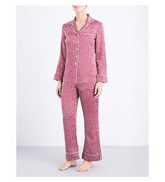 OLIVIA VON HALLE Lila Amal Silk-Satin Pyjama Set. #oliviavonhalle #cloth #sleepwear & lingerie