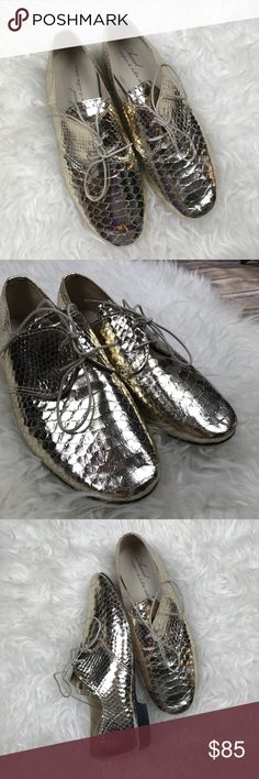 """Anniel Gold Embossed Oxfords Excellent condition Anniel Gold Embossed Lace up oxfords. Size 38. No scuffs or rub marks. Small 1/2"""" lift heel. True to size. No trades, offers welcome. Anniel Shoes Flats & Loafers"""
