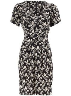 Dorothy Perkins Black Bird Print Tie Dress