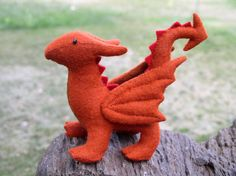 Stuffed Dragon Waldorf Wool Felt  Rust Colored by EnchantedForest, $37.00