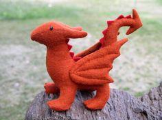 Stuffed Dragon Waldorf Wool Felt  Rust Colored by EnchantedForest, $37.00