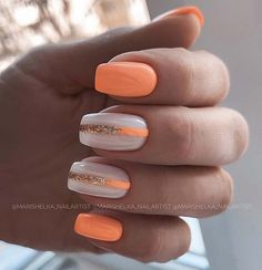 Summer Acrylic Nails, Cute Acrylic Nails, Acrylic Nail Designs, Cute Nails, Nail Art Designs, Acrylic Art, Orange Nails, Pink Nails, Gel Nails