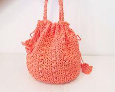 Peach crocheted bucket  bag  drawstring  by KatarinaBagsnPurses, $17.00