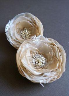 Rustic Burlap Bridal Hair Accessory, Champagne Beige Wedding Hair Piece, Rustic Wedding Flower Clips, Lace Bridal Hair Flowers, Bridesmaids