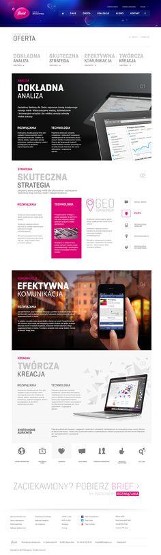 Schöne Agneutwebsite mit gut gestalteten Unterseiten. Fluid - interactive agency by Łukasz Dopierała, via Behance