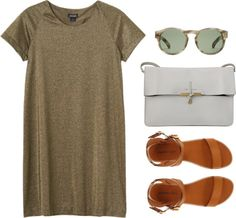 Shirt dress, sunnies, gladiator sandals and white clutch bag