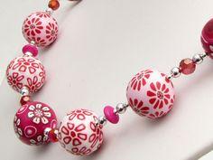 Erdbeer – Joghurt Kette Polymer Clay Lampwork – Weiß, Pink