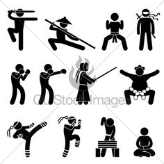 A Set Of Pictogram Representing Martial Art Fro...