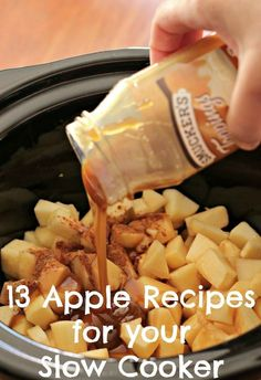 13 Apple Recipes for your Slow Cooker - Crockpot Recipes Apple Crockpot Recipes, Apple Recipes Easy, Apple Dessert Recipes, Fruit Recipes, Fall Recipes, Sweet Recipes, Cooking Recipes, Apple Recipes Dinner, Recipes