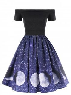Women Evening Party Dress Off The Shoulder Galaxy Moon Print Swing A-Line Dress . Women Evening Party Dress Off The Shoulder Galaxy Moon Print Swing A-Line Dress Source by hollyty Teen Fashion Outfits, Fashion Dresses, Pretty Dresses, Beautiful Dresses, Long Dresses, Dress Outfits, Cool Outfits, Dress Shoes, Dress Clothes