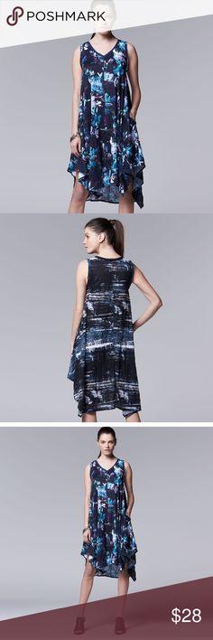 Vera wang crinkle tank print dress 👗 Nice slive soft dress 👗 Simply Vera Vera Wang Dresses Midi
