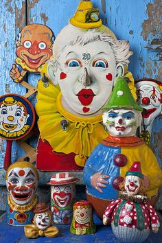 Vintage / antique tin clowns collection.