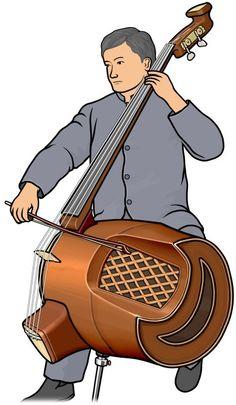 低音革胡を演奏する男性のイラスト。中国の楽器。