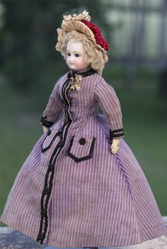 """13 1/2"""" (35 cm) Antique Early French Barrois fashion parisienne doll"""