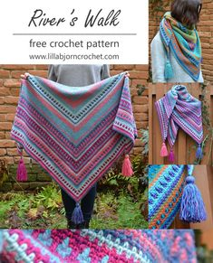River's Walk Shawl - free crochet pattern, photo tutorial and video at Lilla Bjorn's Crochet World. Shawl Crochet, Crochet Shawls And Wraps, Crochet Scarves, Crochet Clothes, Moss Stich Crochet, Crochet Gratis, Diy Crochet, Knitting Patterns, Crochet Patterns