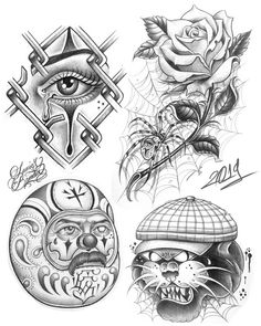 Chicano Tattoos Sleeve, Chicano Style Tattoo, Evil Skull Tattoo, Skull Tattoos, Clown Tattoo, Desenho New School, Arte Lowrider, Tattoo Lettering Styles, Chicano Drawings