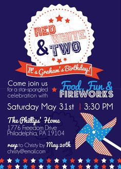 Red White Two Invitation Perfect For Memorial Day Or 4th Of July Birthday Party
