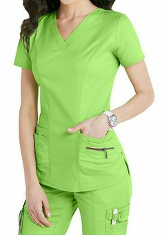 Accents abound on this eco-friendly, figure-flattering and lightweight stretch scrub top! Citrus color is perfect for the season! Cute Scrubs Uniform, Scrubs Outfit, Stylish Scrubs, Medical Uniforms, Nursing Uniforms, Nursing Clothes, Medical Scrubs, Scrub Tops, Costume