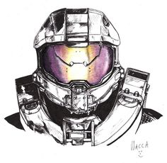 First ever drawing in pen - it's a nice medium to use. Uni fineliner pens and Derwent Studio pencil crayon on whi. Master Chief - Halo 4 - in Pen Halo Master Chief Helmet, Master Chief Armor, Master Chief Costume, Master Chief And Cortana, Master Chief Petty Officer, Stormtrooper, Darth Vader, Anime Expo, Fantasy Poster