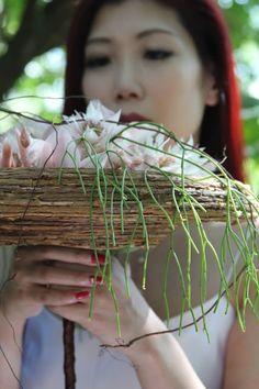 clematis disc wedding bouquet #wedding #bouquet #design #class #workshop #cymbidium #orchids #nude #bride Cymbidium Orchids, Bouquet Wedding, Clematis, Plant Hanger, Workshop, Nude, Plants, Design, Atelier