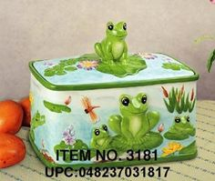 Green Frog Ceramic Bread Box: Amazon.com: Kitchen & Dining