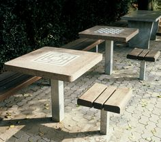 Benches with tables | Street furniture | Chess and draughts table ... Check it out on Architonic
