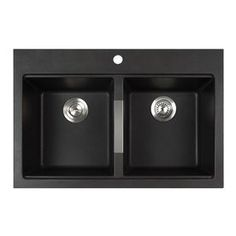 Kraus Kitchen Sink 22-in x 33-in Black Onyx Double-Basin Granite Drop-In or Undermount 1-Hole Residential Kitchen Sink All-In-One Kit