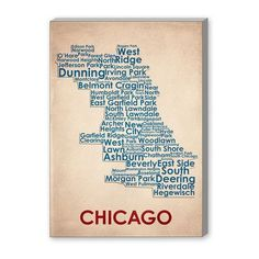 Americanflat Chicago Textual Art on Canvas Size: