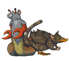 Redone rats, a simple re-shadow of the two chimera's that live on the top of the site's header.