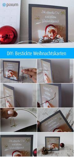 DIY: Bestickte Weihnachtskarten - entdecke in der Pixum Themenwelt Weihnachten viele kreative Ideen, mit denen Du Deine Fotos für Weihnachten toll gestalten kannst.