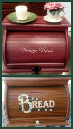 An old worn out bread box has been recycled and upcycled with a pretty red paint and an antiqued finish.  Painted by Vintage Paints, in Orlando FL.