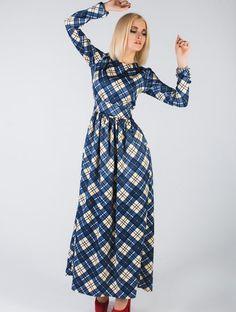 Летнее платье в пол синяя