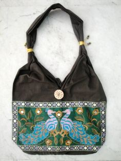Traditional Ethnic Peacock Design Embroidery Indian Rajasthani Art Deco Tote Ladies Sling Cotton Handbag by Krishna Mart India, http://www.amazon.com/dp/B005GT7IRI/ref=cm_sw_r_pi_dp_1nIVpb1FWY1Z1
