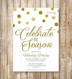CELEBRATE the SEASON HOLIDAY Party Invitation Gold by LavenderArte