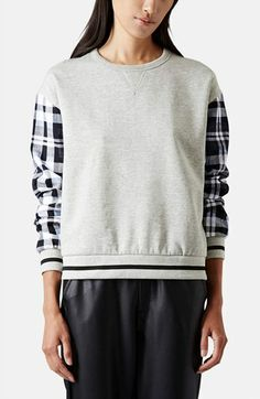 Topshop Check Sleeve Sweatshirt   Nordstrom