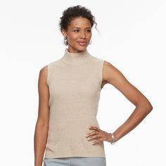 Women's Dana Buchman Sleeveless Turtleneck Top, Size: Medium, Beig/Green (Beig/Khaki)